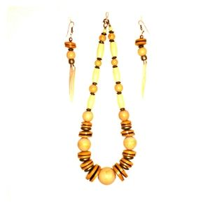 Wooden Bead Statement Necklace & Earrings Set